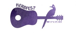 A roadrunner sits on an acoustic guitar advertising the herbfest event.