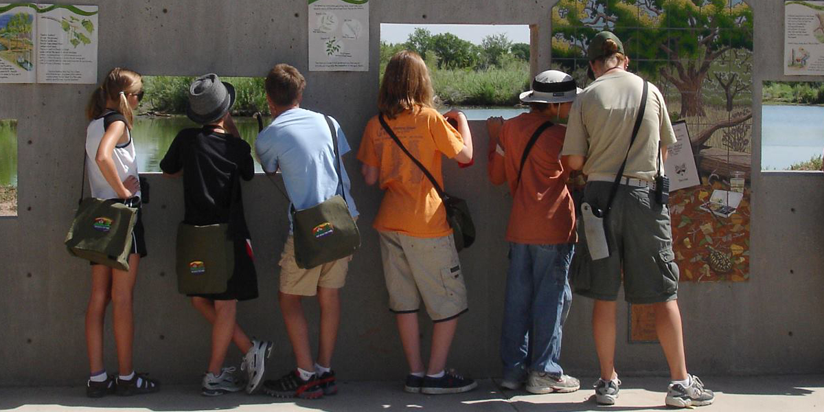 Children viewing Observation Pond through Bird Blind